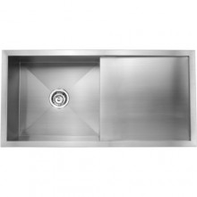 Quadro 36x18x8 single bowl matt finish with drain board