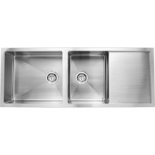 Quadro 52x20x8 double bowl matt finish with drain board