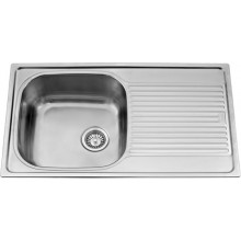 Vogue 34x20x8 single bowl matt finish with drain board