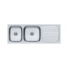Premium double bowl ss sink with drain board