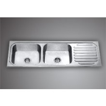 "MERCURY DBSD 01- 54.5""x18.5"" Double bowl SS Sink with drain board"