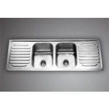 "VENUS DBDD 01- 69.5""x18.5""Double bowl  SS Sink with double drain board"