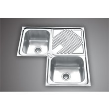 "SYMPHONY CS 01- 36""x36"" Double bowl Corner  Sink with drain board"