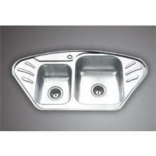 "SYMPHONY CS 02- 41""x20"" Double bowl corner Sink with soap holder"