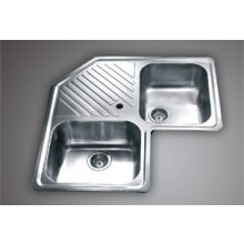 "SYMPHONY CS 03- 33""x33 ""Double bowl corner  Sink with soap holder"