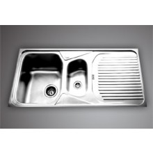 "JUBILEE SBMB 09*- 41""x20 "" Double bowlSS Sink with drain board"