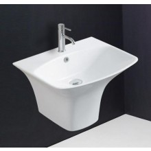 Hindware Berlin Integrated Semi Pedestal, Smooth Clean rectangualr design for a bold style statement, 56 x 46 x 38.5 cm star white