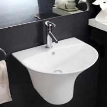 Hindware Kylis Integrated Semi Pedestal, Center pre-punched  tap hole, Chrome-plated cap for overflow hole, 57.5x48 cm star white