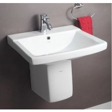Hindware Viva, 11036 Half Pedestal Washbasin, Centre pre-punched  tap hole, Chrome-plated cap for overflow hole, 56x48 cm star white