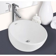 Hindware Dome Over Counter Washbasin, Chrome Plated Cap For Overflow Hole, 40.5x40.5x23.4 cm star white