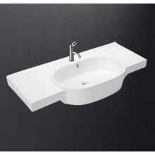 Hindware Tarrot Designer Washbasin, Oval wash bowl with ledges on both sides, Centre pre-punched tap hole, 100x47 cm star white