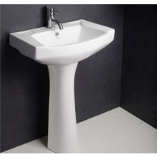 Hindware Viking, 11003 Pedestal Washbasin,Three semi-punched tap hole, 55 x 40 cm star white